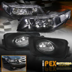 2004 2005 Acura Tsx Jdm Black Projector Headlights W Front Driving Fog Lights