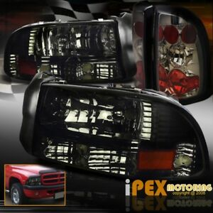 New For 1997 2004 Dodge Dakota Shiny Smoke Headlights W Smoke Euro Tail Lights