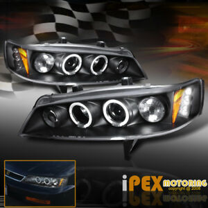 For 94 97 Honda Accord Halo Projector Led Headlights Corner Signal Lights Black