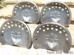 Five Steel Tractor Seats Metal Farm Or Bar Stool Tops Pan Style Large