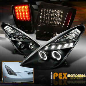 For 00 05 Toyota Celica Halo Projector Black Headlights Led Smoke Tail Lights
