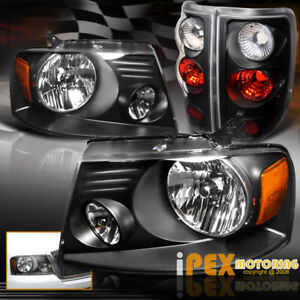 New For 2004 2008 Ford F150 Styleside Black Headlights Black Tail Lights Combo