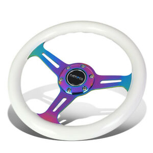 Nrg 310mm White Wood Grain Grip Neo Chrome 3 Spokes Steering Wheel W Horn Button