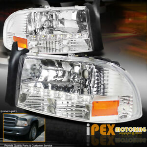 New 1997 2004 Dodge Dakota Chrome Signal Corner Headlight W Led Driving Lights