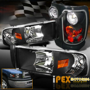 1994 2001 Dodge Ram 1500 2500 3500 Headlight W Corner Signal Tail Light Black