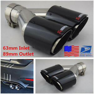 63 89mm Glossy 100 Real Carbon Fiber Car Suv Dual Exhaust Pipe Tail Muffler Tip
