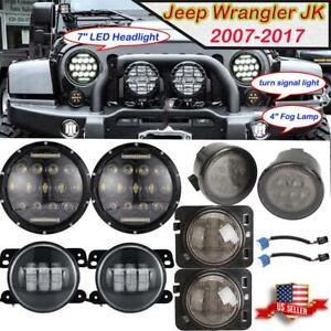 For Jeep Wrangler Jk 7 Led Drl Headlight Fog Lamp Turn Signal Fender Light 4wd