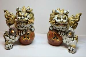 Antique 1800s Meiji Period Japanese Porcelain Moriage Kutani Guardian Foo Dogs