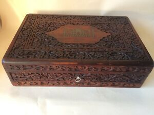 Antique Indian Wooden Carved Box With Brass Inlay