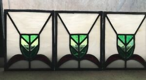 Antique Leaded Stained Glass Panel 12 Art Deco