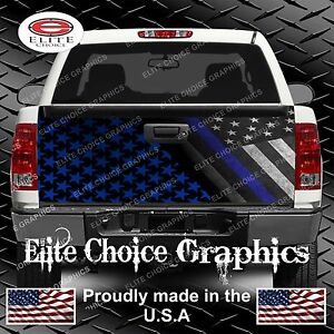 Police Thin Blue Line Flag Camo Truck Tailgate Wrap Vinyl Graphic Decal