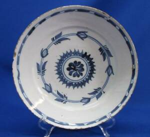 Early Chinese Blue White Porcelain Shallow Bowl Plate