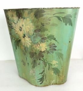 Vintage Tole Hand Painted Waste Basket Trash Can Shabby Green Floral Tindeco