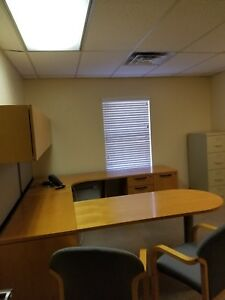 7 X8 Executive U shape Desk W Upper Storage Cabinets By Kimball Office