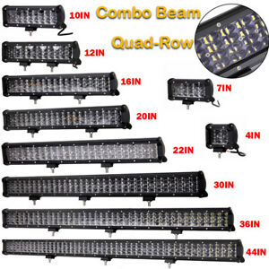 44 Quad row Led Work Light Bar Flood Spot Combo 12v 24v 36 30 22 20 16 12 10in
