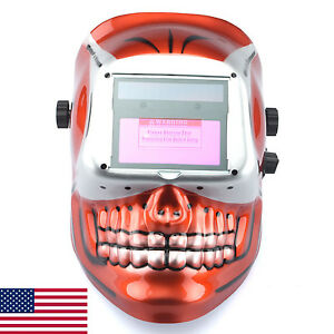 Welding Helmet Red Skull Auto Darkening Mig Tig Arc Welder Protective Mask In Us