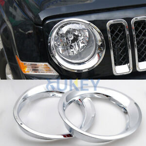 Front Headlight Head Light Lamp Chrome Cover Trim Molding For Jeep Patriot 2015