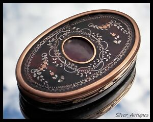 Very Rare Charles Ii Gold Silver Pique Faux Tortoiseshell Wooden Snuff Box