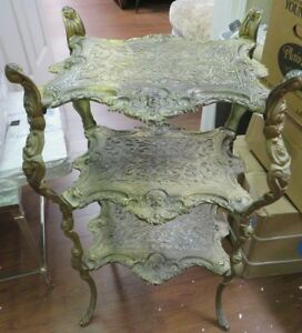 Antique Victorian Ornate Cherub Faced Brass Plated 3 Tier Plant Stand Nightstand