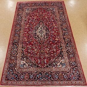 Persian Hand Knotted Wool Red Blue Flawless Oriental Rug Carpet 7 X 11