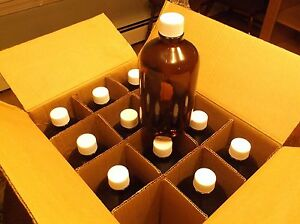 Eagle Picher 112 01a 1l Amber Glass Jar Bottle With Caps Case Of 12 1 Liter