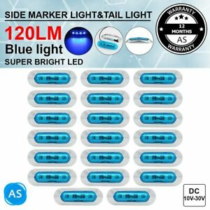 20 X Side Marker Tail Light 4 Led Blue Clearance Lamp Truck Trailer Universal Rv