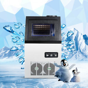 120lbs Auto Commercial Ice Cube Maker Machine Stainless Steel Bar 110v 300w