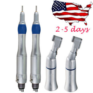 2x Usa Dental Low Speed Handpiece Kit Straight Contra Angle Motor 4 Hole Fit Nsk