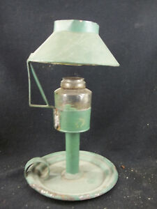 Rare Antique Tin Whale Oil Lamp With Shade Glass Font
