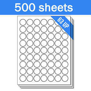For Laser Inkjet Printers Round Circle Dot 1 Stickers Labels 31500 Sheets