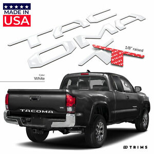 White 3d Domed Raised Letters Inserts For Toyota Tacoma 2016 2020 Tailgate
