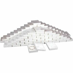 Cotton Filled Jewelry Gift Boxes White 5 3 8 100pcs