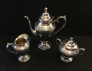 Wm Rogers And Son International Silver Spring Flower Silverplate 4pc Tea Set