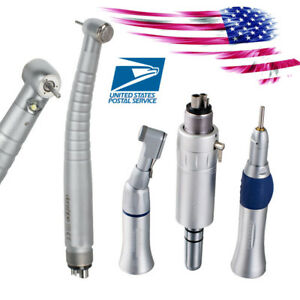 4 Hole E generator Dental High Low Speed Led Handpiece Kit Contra Angle