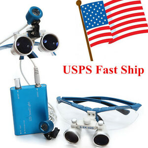 Dental Led Head Light Blue Surgical Medical Loupes 3 5x420mm usa Usps Ship