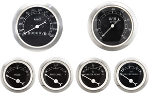 Motor Meter Racing 6 Gauge Set Classic Mechanical Speedometer Kmh C Bar