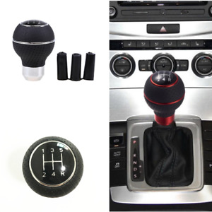 Universal 5 Speed Leather Silver Car Gear Shift Knob Shifter Lever Handle Stick