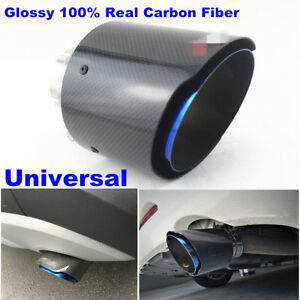 1x Universal Carbon Fiber Car Exhaust Tail Tip Muffler Pipe 114mm Outlet Glossy