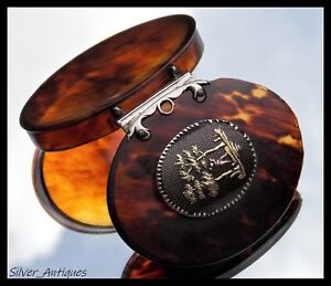 Extremely Rare Charles Ii Gold Mounted Wood Cutter Faux Tortoiseshell Snuff Box