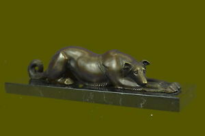 Vintage Bronze Metal Greyhound Whippet Dog Statue Sculpture Figurine Home Decor