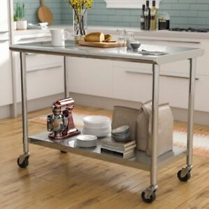Stainless Steel Kitchen Prep Table Island With Wheels Nsf