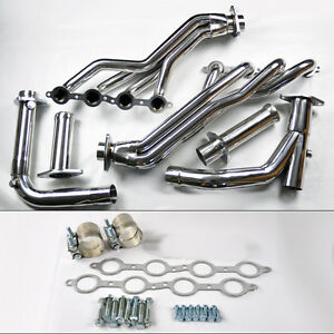 Chevy Gmc 07 14 4 8l 5 3l 6 0l Long Tube Stainless Steel Headers W Y Pipe