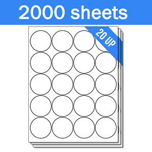 Round Circle Dot 2 Stickers Labels For Laser Inkjet Printers 40000 Sheets
