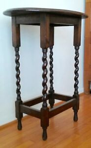 Antique English End Table Carved Solid Oak With Barley Twist Legs Pick Up Only