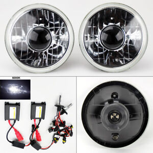 7 Round 6k Hid Xenon H4 Clear Projector Glass Headlight Conversion Pair Dodge