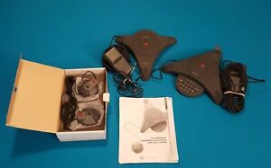 Lot Of 2 Polycom Soundstation 2201 00106 001 Conference Phone 2 External Mics