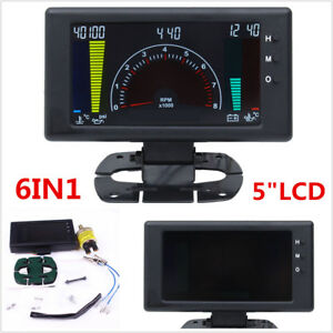 5 Lcd Digital 6in1 Car Dash Gauge Tachometer volt rpm water Temp oil Temp Meter
