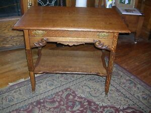 Very Fine Antique Quartersawn Oak Library Table Fluted Legs Wonderful Carvings