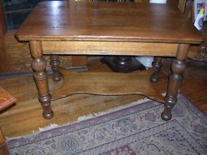 Large Antique Great Quartersawn Oak Library Table Poster Legs Turned