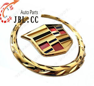 New Cadillac Front Grille 6 Emblem Hood Badge Gold Logo Chrome Symbol Ornament